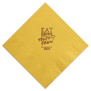 The ever-popular Watercolor Sangria Cocktail Napkin with Matte Sunflower Foil has a Football graphic and is good for use in Sports themed parties and can be personalized to match your party's exact theme and tempo.