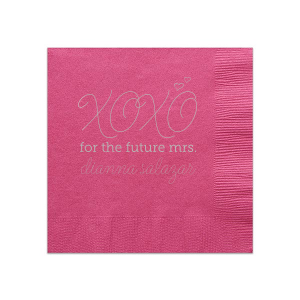 Personalize this adorable Fuchsia and Gold Bridal Shower napkin to show off your hostess skills and make your bestie happy! The hand lettered script, XOXO and little hearts give a playful feminine touch your bride will love.
