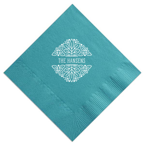 Custom Teal Guest Towel with Matte White Foil has a Garden Greeting graphic and is good for use in Frames, Floral themed parties and will give your party the personalized touch every host desires.
