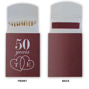 ForYourParty's chic Natural Cranberry Barrel Matchbox with Matte Dove Grey Foil Color has a Interlocked Hearts graphic and is good for use in Wedding, Hearts themed parties and can be customized to complement every last detail of your party.