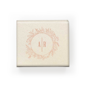 ForYourParty's elegant Stardream Ivory Rectangle Box with Shiny Rose Gold Foil has a Peony Circle Frame graphic and is good for use in Floral, Frames, Wedding themed parties and will make your guests swoon. Personalize your party's theme today.