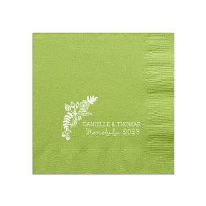 "Tropical Celebration - White - Luncheon Napkins - Personalized - Set of 100 - 6.5 x 6.5"""" by ForYourParty.com"