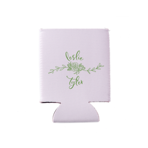 ForYourParty's elegant Lavender Flat Can Cooler with Matte Moss Green Ink Cup Ink Colors has a Peony Flourish 2 graphic and is good for use in Floral themed parties and will impress guests like no other. Make this party unforgettable.