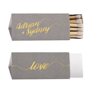 Our custom Natural Slate Triangle Matchbox with Shiny 18 Kt Gold Foil will give your party the personalized touch every host desires.