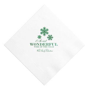ForYourParty's chic White Cocktail Napkin with Shiny Leaf Foil has a Snowing graphic and is good for use in Christmas, Holiday, Home themed parties and will look fabulous with your unique touch. Your guests will agree!