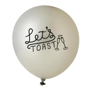 Personalized Silver Designer Balloon with Black Ink Ink Color has a Let's Toast graphic and is good for use in Words, Drinks themed parties and will look fabulous with your unique touch. Your guests will agree!