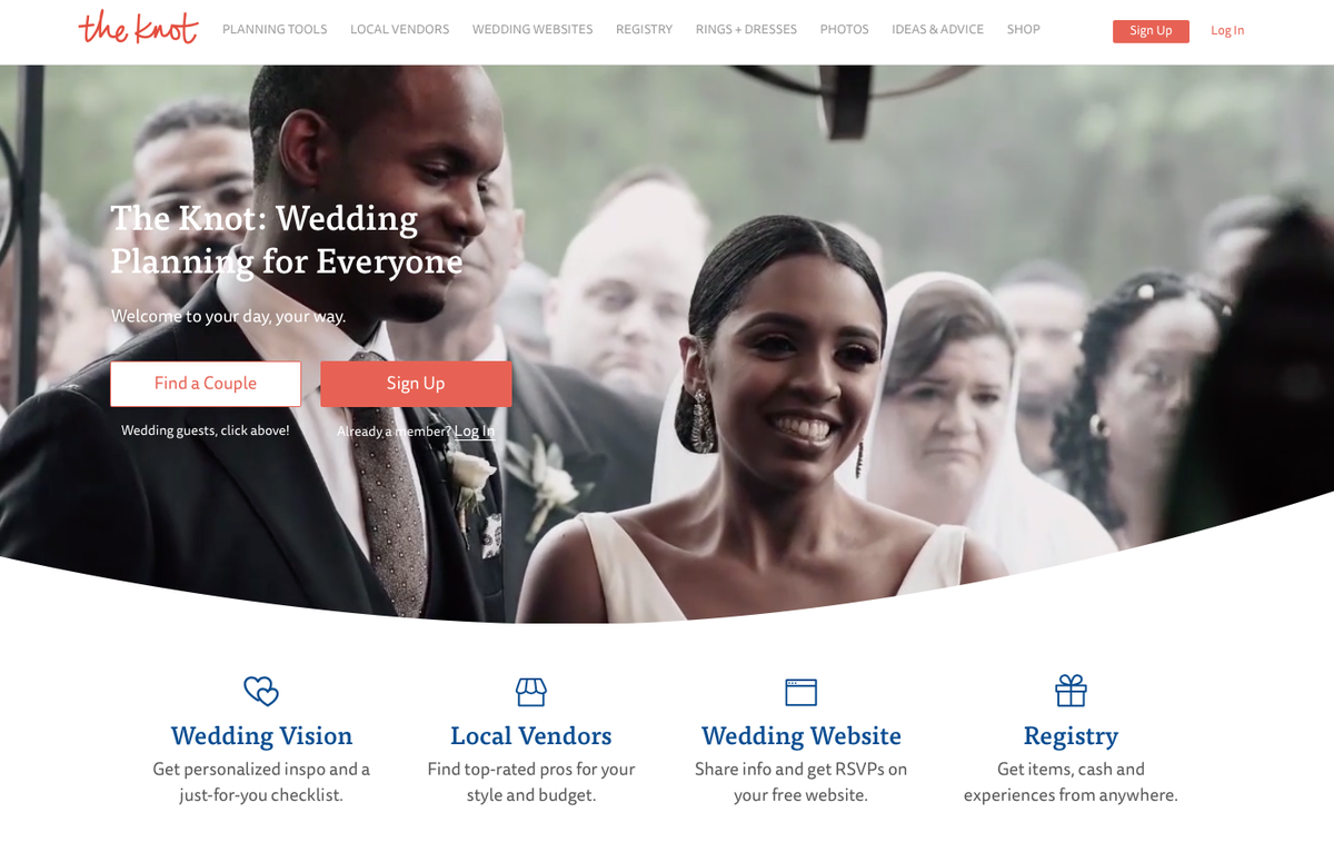 the knot wedding planning website