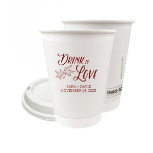 Our custom 8 oz Paper Coffee Cup with Lid with Matte Merlot Ink Cup Ink Colors has a Two Leaves graphic and is good for use in Floral, Autumn and Wedding themed parties and will give your party the personalized touch every host desires.