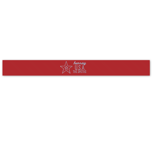 "Personalized Convertible Red 1.5"" Satin Ribbon with Shiny Sky Blue Foil has a Double Star graphic and is good for use in Travel, Stars themed parties and will look fabulous with your unique touch. Your guests will agree!"