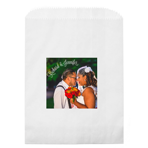 Our custom White Photo/Full Color Party Bag with Matte White Ink Digital Print Colors will look fabulous with your unique touch. Your guests will agree!