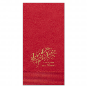 Personalized Convertible Red Cocktail Napkin with Satin 18 Kt. Gold Foil has a The Most Wonderful Time graphic and is good for use in Christmas, and Holiday themed parties and can't be beat. Showcase your style in every detail of your party's theme!