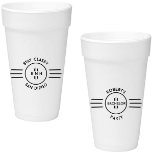 ForYourParty's chic Matte Black Ink 20 oz Styrofoam Cup with Matte Black Ink Cup Ink Colors has a Cigar Frame graphic and a Cigar Frame graphic and is good for use in Accents, Organic, Geometric themed parties and will add that special attention to detail that cannot be overlooked.