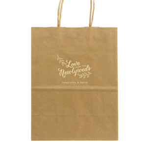 Our personalized Gold Wine Euro Bag with Matte Ivory Foil has a Love Newlyweds graphic and is good for use in Words, Wedding, Calligraphy themed parties and will look fabulous with your unique touch. Your guests will agree!