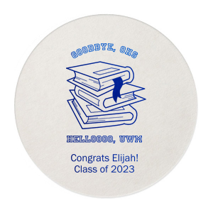 Custom White Square Coaster with Shiny Royal Blue Foil Color has a Books Stacked graphic and is good for use in Graduation themed parties and will make your guests swoon. Personalize your party's theme today.