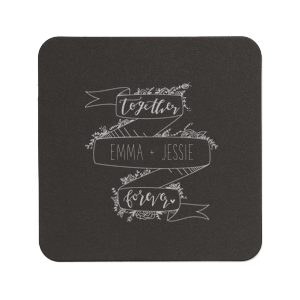 The ever-popular Eggshell Square Coaster with Satin Copper Penny Foil Color has a Together Forever Banner graphic and is good for use in Words themed parties and will give your party the personalized touch every host desires.