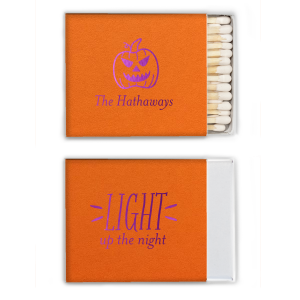 ForYourParty's chic Poptone Tangerine Classic Matchbox with Shiny Amethyst Foil has a Scary Pumpkin graphic and is good for use in Halloween themed parties and will impress guests like no other. Make this party unforgettable.