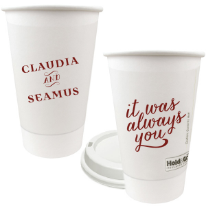 Personalized  8 oz Paper Coffee Cup with Lid with Matte Merlot Ink Colors has a It Was Always You graphic and is good for use in Anniversary, Engagement and Wedding themed parties and will impress guests like no other. Make this party unforgettable.
