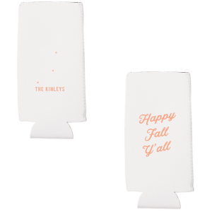 Our personalized Coral Flat Can Cooler with Matte Merlot Ink Cup Ink Colors has a Tree RSVP graphic and is good for use in Lovely Press themed parties and are a must-have for your next event—whatever the celebration!