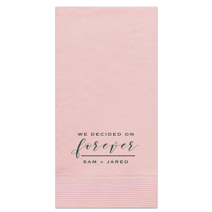 Our personalized Marble Blush Cocktail Napkin with Matte Spruce Foil will make your guests swoon. Personalize your party's theme today.