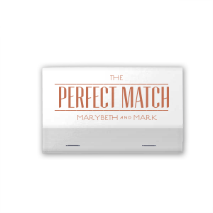 Our custom Shiny White 40 Strike Match with Satin Copper Penny Foil Color will add that special attention to detail that cannot be overlooked.