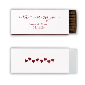 Our custom Shiny White 40 Strike Match with Shiny Merlot Foil Color has a Ti Amo graphic and is good for use in Words themed parties and will look fabulous with your unique touch. Your guests will agree!