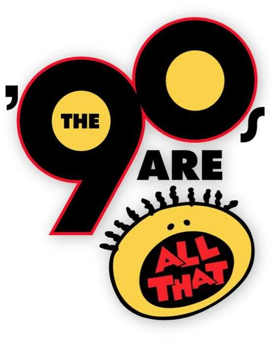 the 90s are all that logo for a 90s theme party