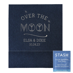 Our personalized Stardream Navy Large Sparkler Sleeve with Shiny Sterling Silver Foil has a Night Sky graphic and is good for use in Baby Shower, Stars themed parties and can be customized to complement every last detail of your party.