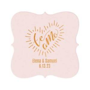 ForYourParty's chic White Square Coaster with Shiny Copper Foil Color has a Te Amo graphic and is good for use in Words themed parties and can be customized to complement every last detail of your party.