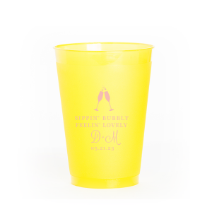 Our custom Matte Pastel Pink Ink 10 oz Frost Flex Cup with Matte Pastel Pink Ink Cup Ink Colors has a Flutes 2 graphic and is good for use in Drinks, Wedding, Holiday themed parties and can be personalized to match your party's exact theme and tempo.