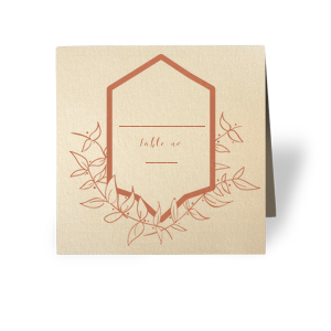 Choose your theme colors and customize the paper and foil of these place cards to give your wedding, shower or party tablescapes an earthy chic look. Write each guest's name and table number in our leafy Crest graphic for a fashionable escort to their seat.