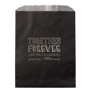 Personalized Ivory Party Bag with Shiny Turquoise Foil has a Together Forever graphic and is good for use in Couple and Wedding themed parties and can be personalized to match your party's exact theme and tempo.