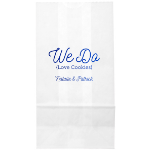 Our personalized Ivory Party Bag with Shiny Royal Blue Foil will make your guests swoon. Personalize your party's theme today.