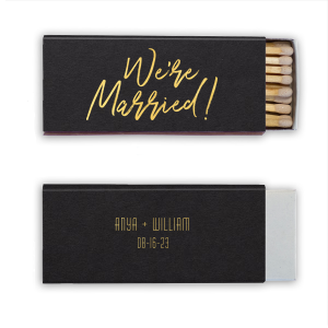 Custom Natural Black Classic Matchbox with Shiny 18 Kt Gold Foil Color has a We're Married graphic and is good for use in Words themed parties and will look fabulous with your unique touch. Your guests will agree!