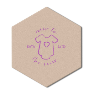 Our custom Eggshell Square Coaster with Satin Plum Foil Color has a Onesie graphic and is good for use in Baby Shower themed parties and can't be beat. Showcase your style in every detail of your party's theme!