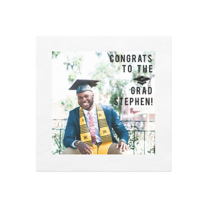 Our personalized White Borderless Photo/Full Color Cocktail Napkin with Matte Black Ink Digital Print Colors has a Cap graphic and is good for use in Graduation themed parties and will add that special attention to detail that cannot be overlooked.