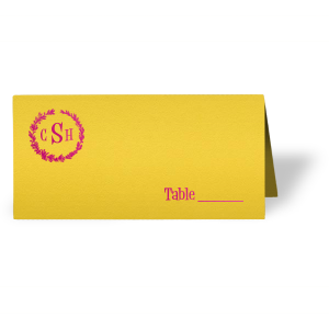 The ever-popular Poptone Yellow Euro Place Card with Shiny Fuchsia Foil has a Leaf Frame 4 graphic and is good for use in Rustic themed parties and can be personalized to match your party's exact theme and tempo.