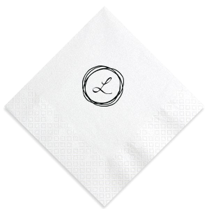 ForYourParty's personalized Crystal White Shimmer Cocktail Napkin with Matte Black Foil has a Circle Doodle Frame graphic and is good for use in Frames themed parties and will give your party the personalized touch every host desires.