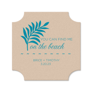 Personalize this festive Kraft coaster for a cute and memorable touch to the bar at your destination or beach themed wedding.