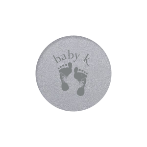 Our custom Classic Crest White Round Label with Matte Teal/Peacock Ink Color has a Footprints graphic and is good for use in Baby Shower themed parties and will give your party the personalized touch every host desires.