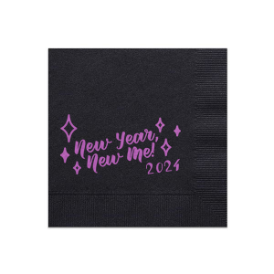 Our custom Black Cocktail Napkin with Satin Plum Foil has a New Year New Me graphic and is good for use in New Years, Holiday, Words themed parties and will look fabulous with your unique touch. Your guests will agree!