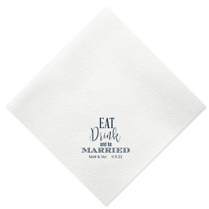Our custom Dove Gray Cocktail Wedding Napkin with Matte Navy Foil Color will add that special attention to detail that cannot be overlooked.