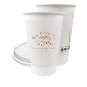 Personalized Copper Ink 8 oz Paper Coffee Cup with Copper Ink Screen Print has a Here Comes the Bride 3 graphic and a Peony Flourish 2 graphic and is good for use in Floral, Wedding, Tea, Bridal Shower themed parties and will make your guests swoon. Personalize your party's theme today.