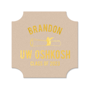 Our beautiful custom Black with Silver back Hexagon Coaster with Matte Sunflower Foil Color has a Graduation Scroll graphic and is good for use in Graduation themed parties and can be customized to complement every last detail of your party.