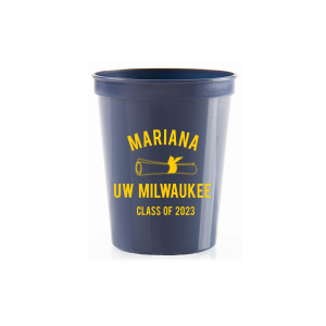 ForYourParty's chic Navy 16 oz Stadium Cup with Matte Chartreuse Ink Cup Ink Colors has a Graduation Scroll graphic and is good for use in Graduation themed parties and are a must-have for your next event—whatever the celebration!