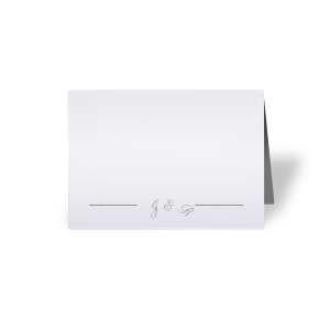 Personalized Natural Frost White Cordial Place Card with Matte Slate Gray Foil will impress guests like no other. Make this party unforgettable.