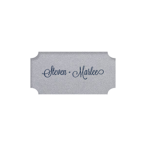 Our personalized Stardream Silver Rectangle Label with Matte Navy Ink Digital Print Colors will give your party the personalized touch every host desires.