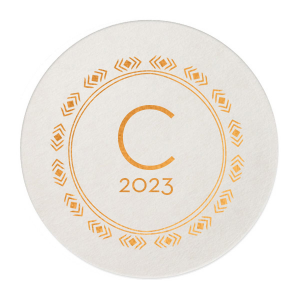 The ever-popular White Round Coaster with Shiny Copper Foil has a Diamond Wreath graphic and is good for use in Aztec, Indie themed parties and can be personalized to match your party's exact theme and tempo.