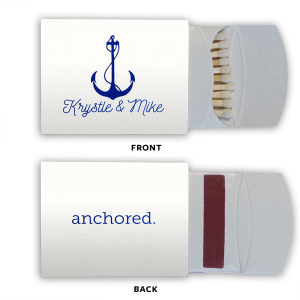 Personalize matches for a wedding favor as unique as you and your soon-to-be! Our Anchor graphic, combined with this White paper and Shiny Royal Blue foil will make a gorgeous addition to your ocean of nautical themed wedding.