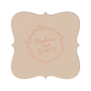 Our beautiful custom Kraft with Blush back Nouveau Coaster with Shiny Rose Gold Foil has a Rustic Wreath graphic and is good for use in Frames, Wedding, Anniversary themed parties and will make your guests swoon. Personalize your party's theme today.