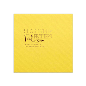 Personalized Sunflower Cocktail Napkin with Shiny Merlot Foil has a Feather graphic and is good for use in Accents, Trendy, Southwestern themed parties and can be customized to complement every last detail of your party.